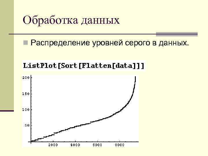 Обработка данных n Распределение уровней серого в данных.