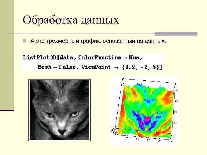 Обработка данных n А это трехмерный график, основанный на данных.