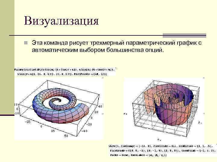 Визуализация n Эта команда рисует трехмерный параметрический график с автоматическим выбором большинства опций.