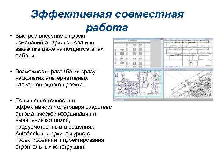 Эффективная совместная работа • Быстрое внесение в проект изменений от архитектора или заказчика даже