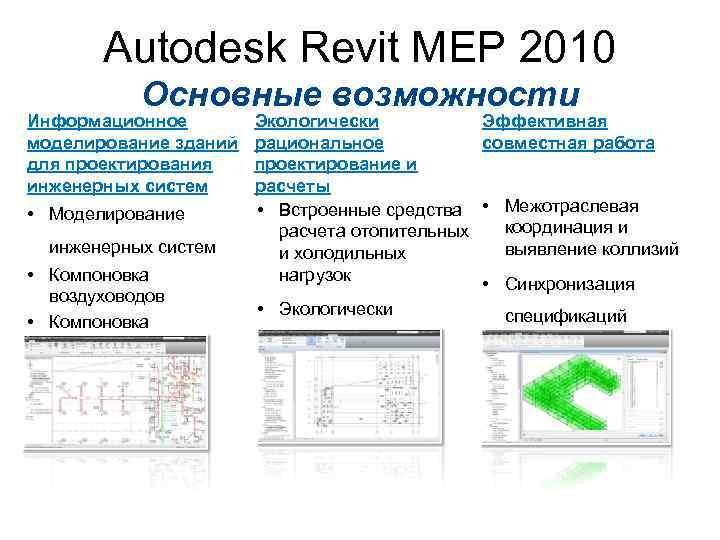 Autodesk Revit MEP 2010 Основные возможности Информационное моделирование зданий для проектирования инженерных систем •