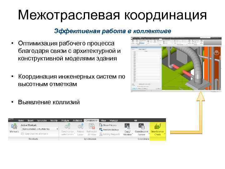 Межотраслевая координация Эффективная работа в коллективе • Оптимизация рабочего процесса благодаря связи с архитектурной