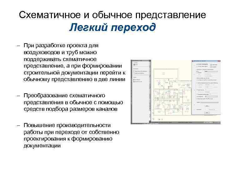 Схематичное и обычное представление Легкий переход – При разработке проекта для воздуховодов и труб