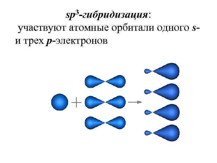 sp 3 -гибридизация: участвуют атомные орбитали одного sи трех p-электронов