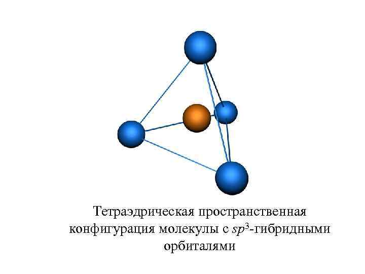 Тетраэдрическая пространственная конфигурация молекулы с sp 3 -гибридными орбиталями