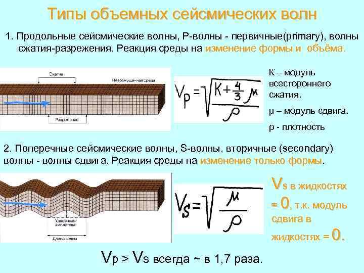 Типы объемных сейсмических волн 1. Продольные сейсмические волны, Р-волны - первичные(primary), волны сжатия-разрежения. Реакция