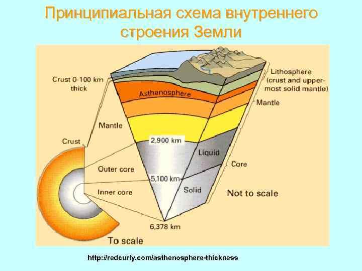 Принципиальная схема внутреннего строения Земли http: //redcurly. com/asthenosphere-thickness