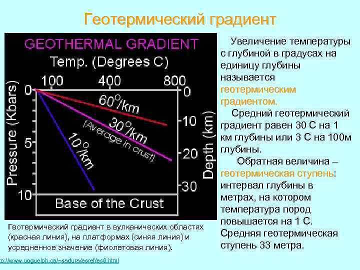 Геотермический градиент в вулканических областях (красная линия), на платформах (синяя линия) и усредненное значение