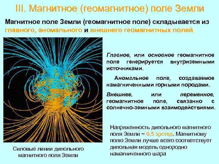 III. Магнитное (геомагнитное) поле Земли Магнитное поле Земли (геомагнитное поле) складывается из главного, аномального