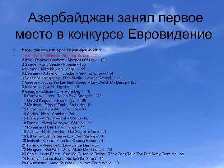 Азербайджан занял первое место в конкурсе Евровидение • • Итоги финала конкурса Евровидение