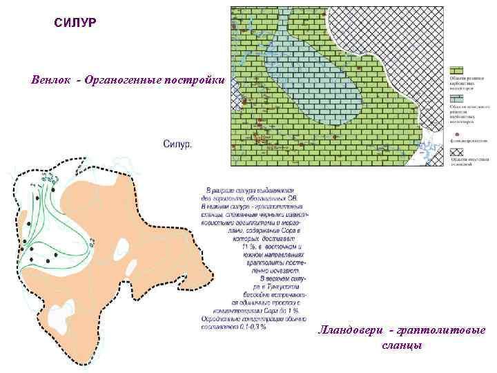 СИЛУР Венлок - Органогенные постройки Мощности Лландовери - граптолитовые сланцы