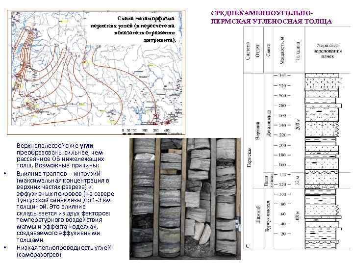 Схема метаморфизма пермских углей (в пересчете на показатель отражения витринита). • • Верхнепалеозойские угли