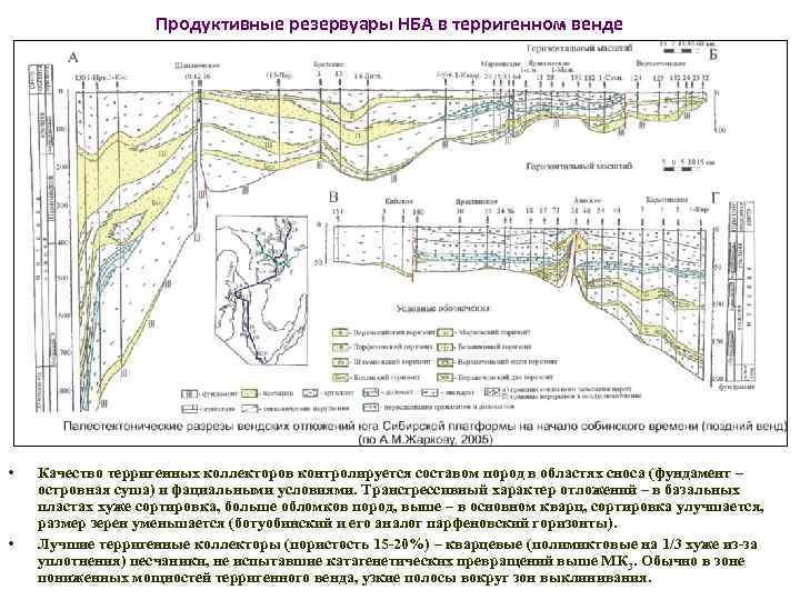 Продуктивные резервуары НБА в терригенном венде • • Качество терригенных коллекторов контролируется составом пород
