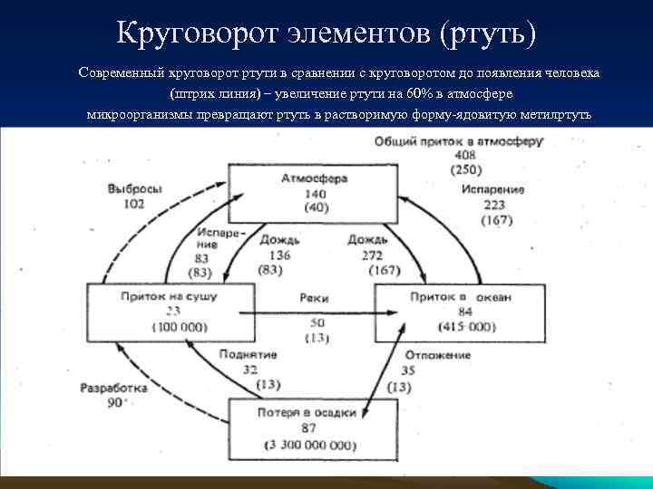 Круговорот элементов (ртуть) Современный круговорот ртути в сравнении с круговоротом до появления человека (штрих