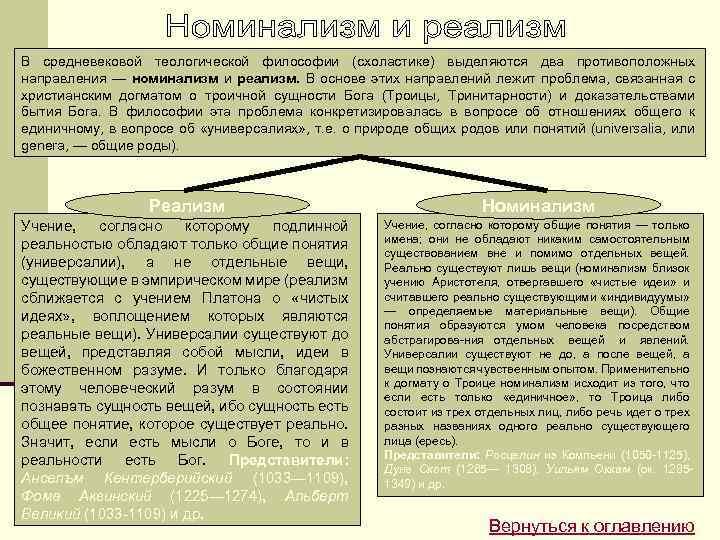 В средневековой теологической философии (схоластике) выделяются два противоположных направления — номинализм и реализм. В