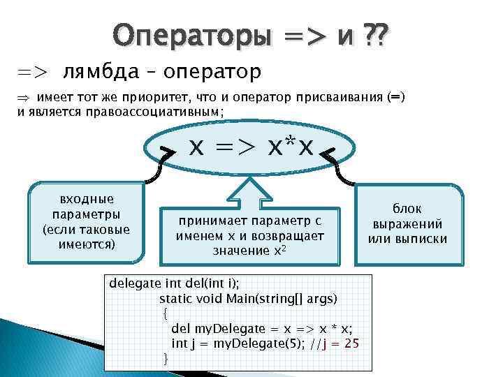 Операторы => и ? ? => лямбда – оператор Þ имеет тот же приоритет,