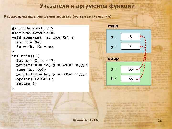 Указатели и аргументы функций Рассмотрим еще раз функцию swap (обмен значениями) #include <stdio. h>