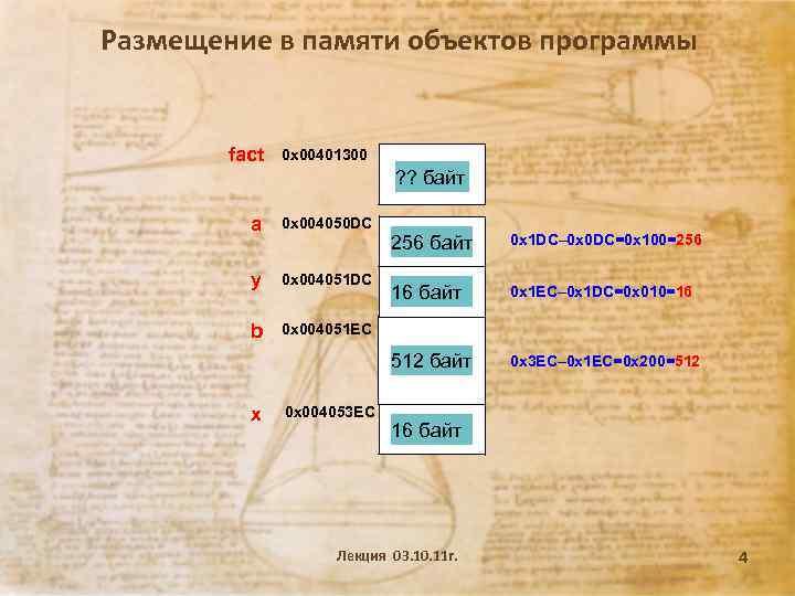 Размещение в памяти объектов программы fact 0 x 00401300 ? ? байт a 0