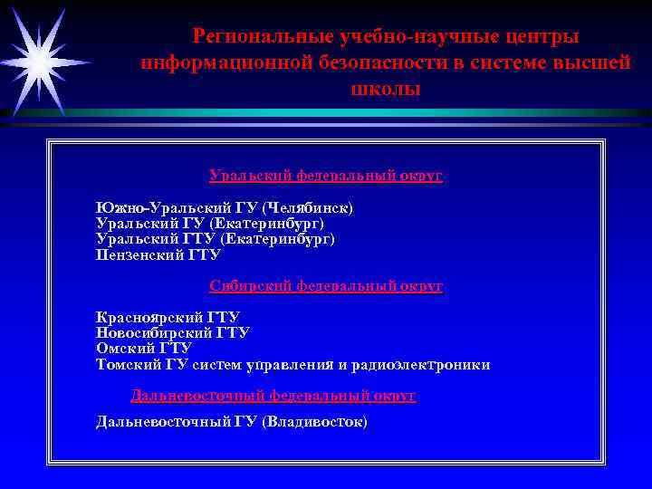 Региональные учебно-научные центры информационной безопасности в системе высшей школы Уральский федеральный округ Южно-Уральский ГУ