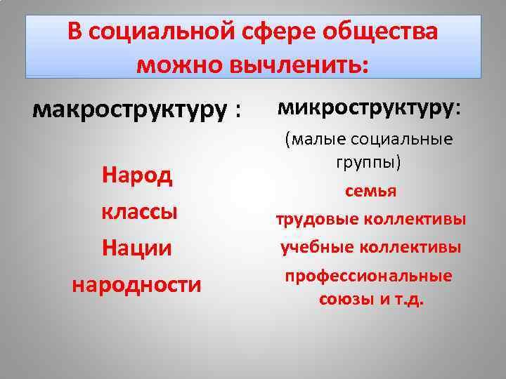 В социальной сфере общества можно вычленить: макроструктуру : Народ классы Нации народности микроструктуру: (малые