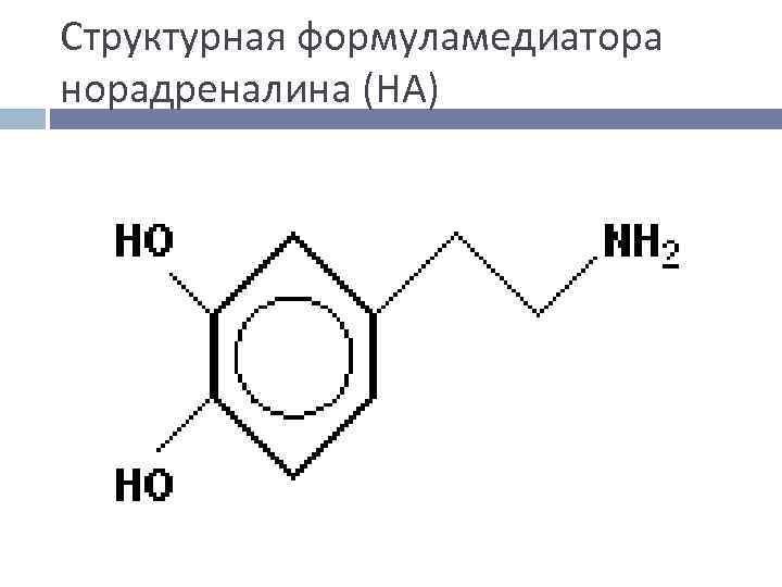 Структурная формуламедиатора норадреналина (НА)
