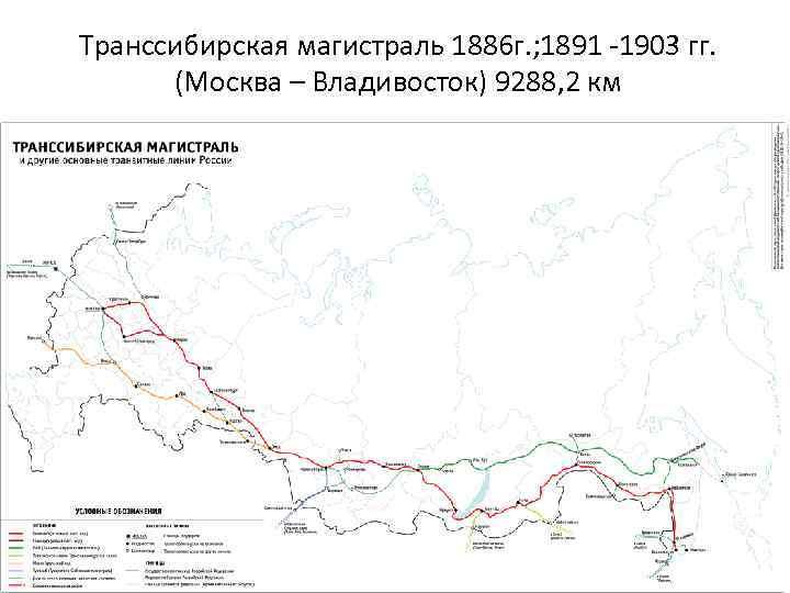 Транссибирская магистраль 1886 г. ; 1891 -1903 гг. (Москва – Владивосток) 9288, 2 км