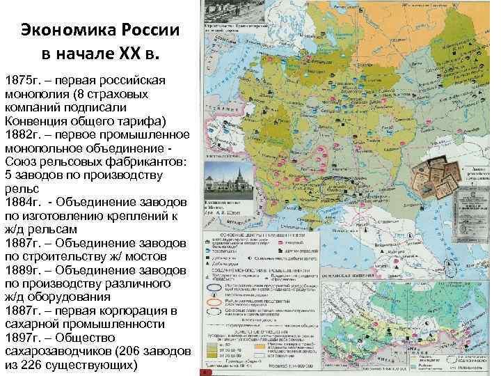 Экономика России в начале XX в. 1875 г. – первая российская монополия (8 страховых
