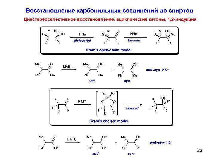 Восстановление карбонильных соединений до спиртов 23