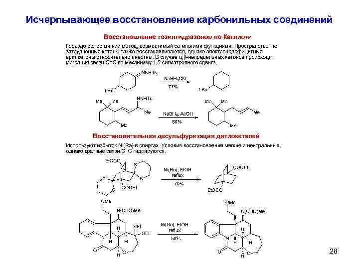 Исчерпывающее восстановление карбонильных соединений 28