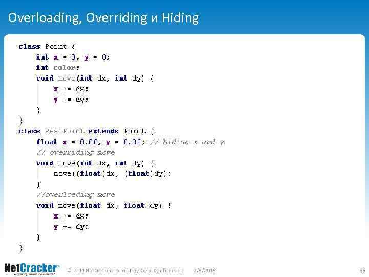 Overloading, Overriding и Hiding © 2011 Net. Cracker Technology Corp. Confidential. 2/8/2018 36