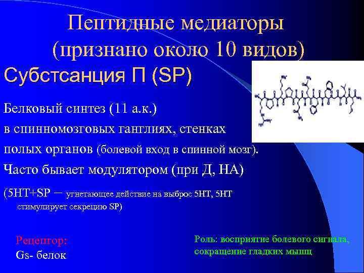 Пептидные медиаторы (признано около 10 видов) Субстсанция П (SP) Белковый синтез (11 а. к.