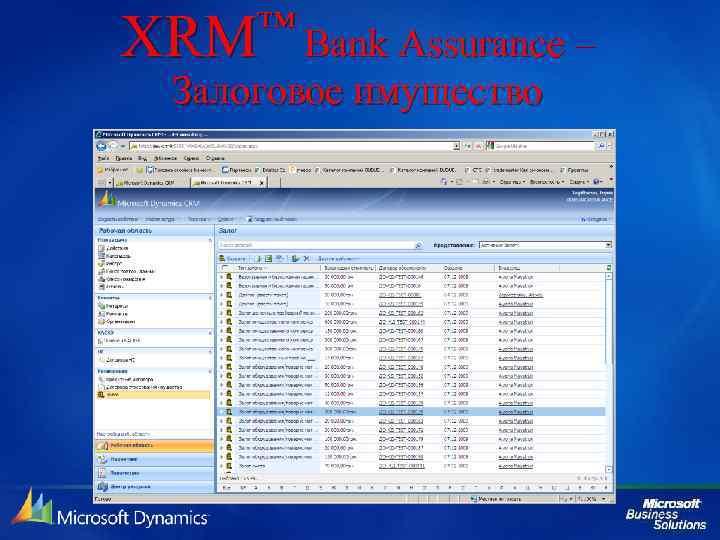™ Bank Assurance – XRM Залоговое имущество