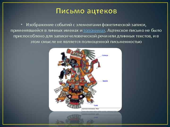 Письмо ацтеков • Изображение событий с элементами фонетической записи, применявшейся в личных именах и