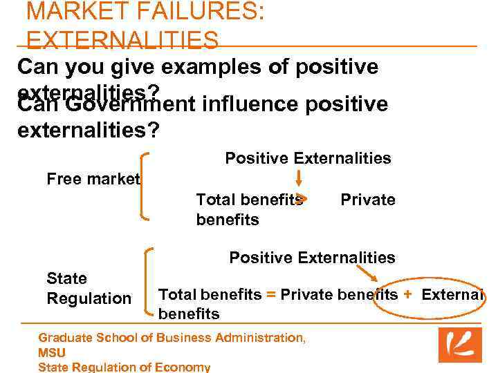 MARKET FAILURES: EXTERNALITIES Can you give examples of positive externalities? Can Government influence positive