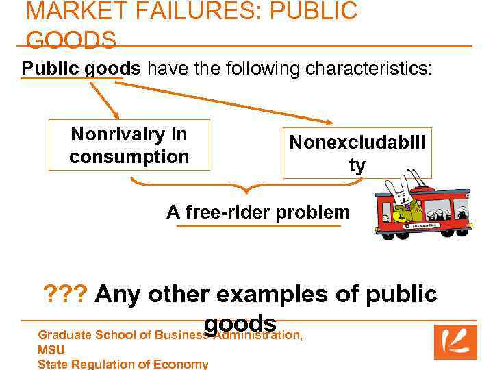 MARKET FAILURES: PUBLIC GOODS Public goods have the following characteristics: Nonrivalry in consumption Nonexcludabili