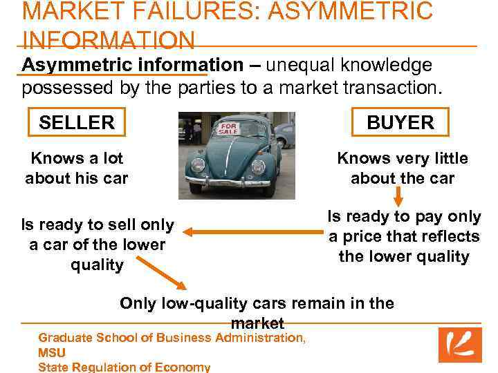 MARKET FAILURES: ASYMMETRIC INFORMATION Asymmetric information – unequal knowledge possessed by the parties to