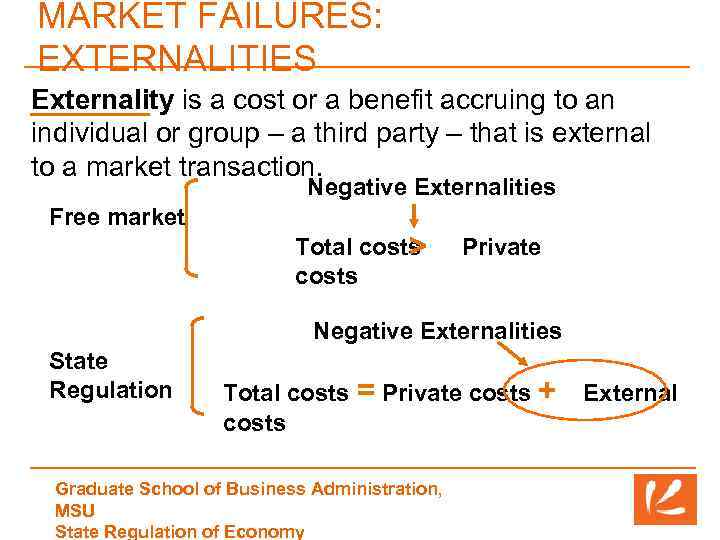 MARKET FAILURES: EXTERNALITIES Externality is a cost or a benefit accruing to an individual