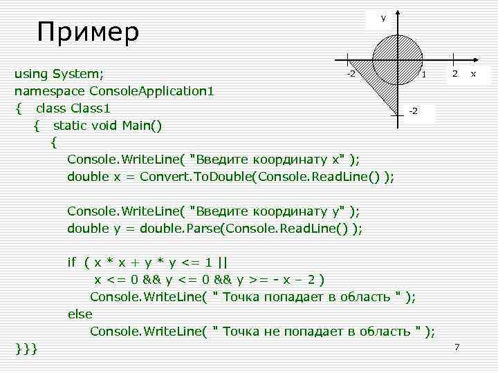 Пример y -2 using System; namespace Console. Application 1 { class Class 1 {