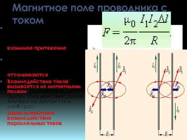 Магнитное поле проводника с током Если по двум параллельным проводникам электрические токи текут в