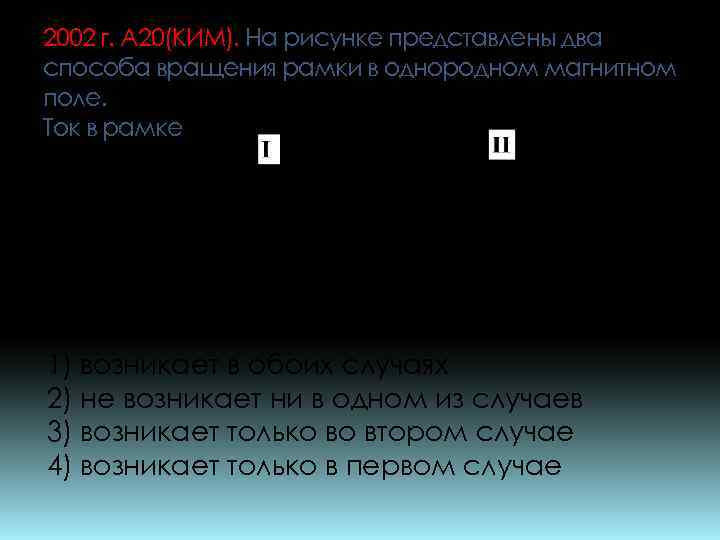 2002 г. А 20(КИМ). На рисунке представлены два способа вращения рамки в однородном магнитном