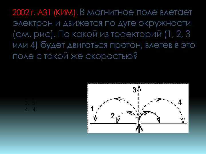 2002 г. А 31 (КИМ). В магнитное поле влетает электрон и движется по дуге