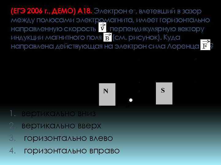 (ЕГЭ 2006 г. , ДЕМО) А 18. Электрон e–, влетевший в зазор между полюсами