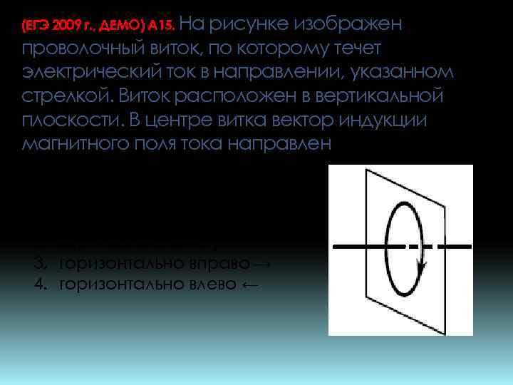 (ЕГЭ 2009 г. , ДЕМО) А 15. На рисунке изображен проволочный виток, по которому
