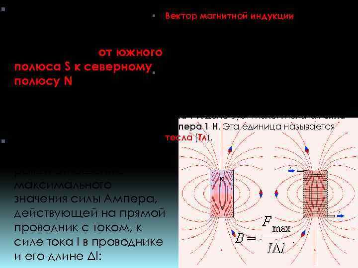 За положительное Вектор магнитной индукции является направление вектора силовой характеристикой магнитного поля и