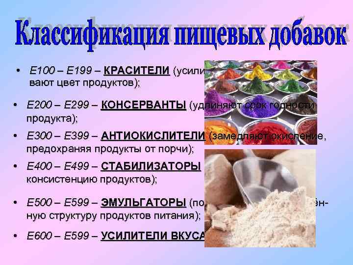 • Е 100 – Е 199 – КРАСИТЕЛИ (усиливают и восстанавливают цвет продуктов);