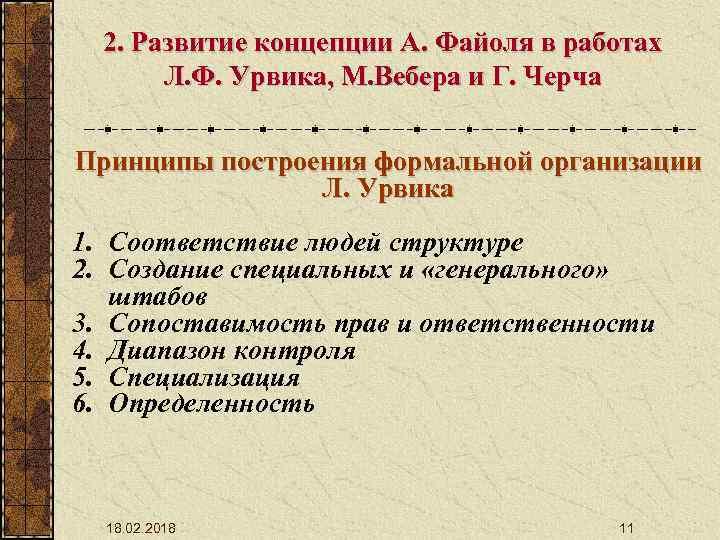 2. Развитие концепции А. Файоля в работах Л. Ф. Урвика, М. Вебера и Г.