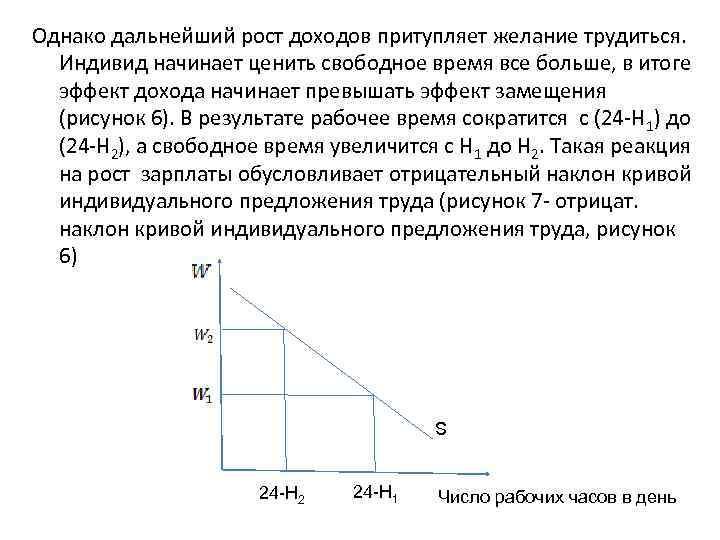 Однако дальнейший рост доходов притупляет желание трудиться. Индивид начинает ценить свободное время все больше,