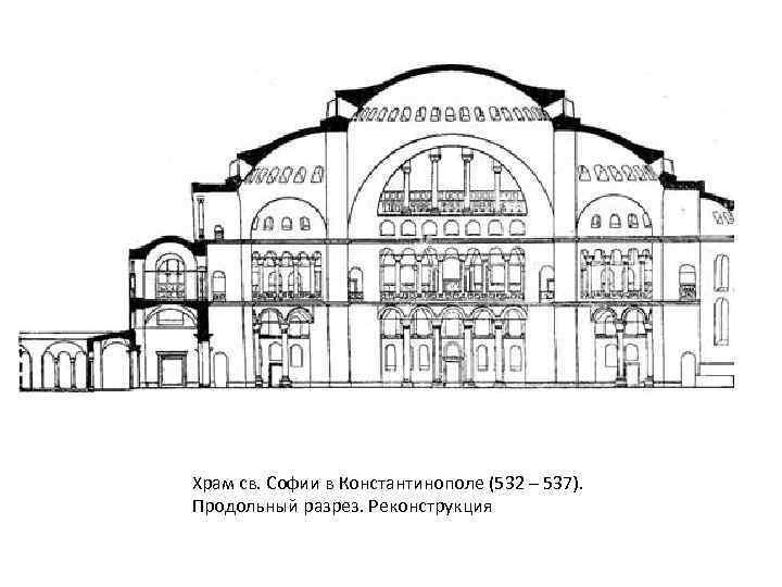 Храм св. Софии в Константинополе (532 – 537). Продольный разрез. Реконструкция