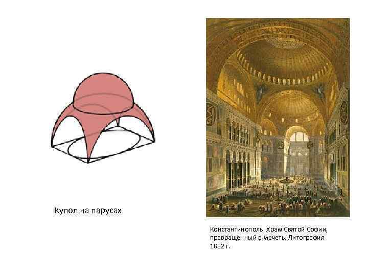 Купол на парусах Константинополь. Храм Святой Софии, превращённый в мечеть. Литография 1852 г.