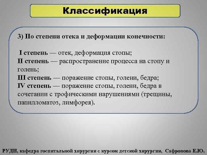 Классификация 3) По степени отека и деформации конечности: I степень — отек, деформация стопы;
